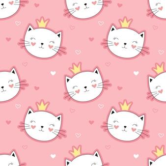 かわいい姫猫のシームレスなパターン、小さな子猫。