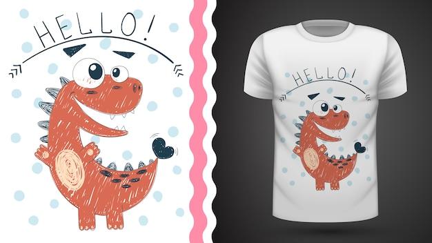 Симпатичная принцесса динозавров - идея для печати футболки