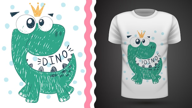 Cute princess dinosaur - idea for print t-shirt