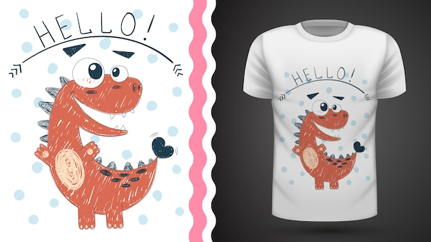Cute princess dinosaur - idea for print t-shirt