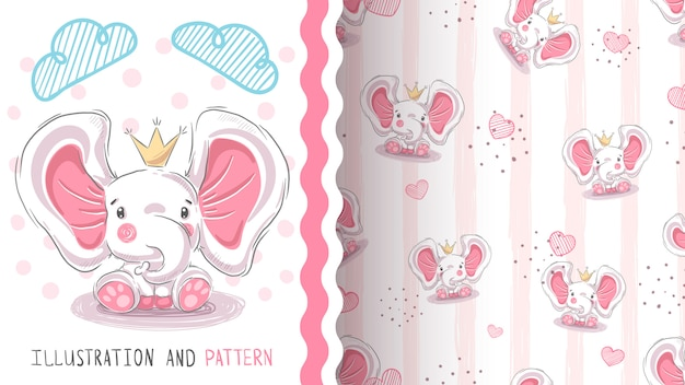 Cute princess elephant seamless pattern