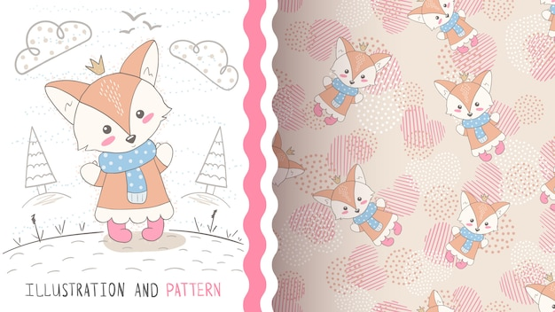 Cute princess fox seamless pattern
