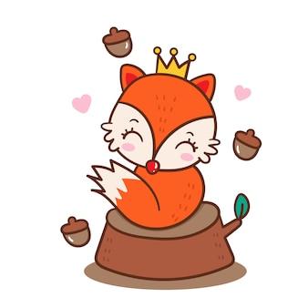 Cute princess fox vector