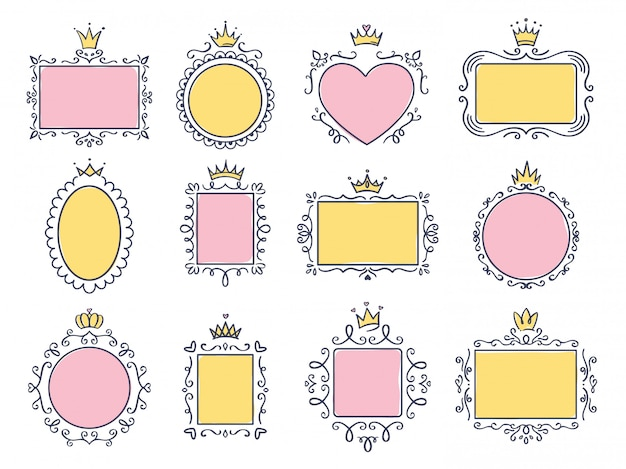 Cute princess frames. pink mirror frame with princesses crown, majestic hand drawn text borders and royal doodle frame  set. collection of empty boards with diadems. tiaras, flourish elements