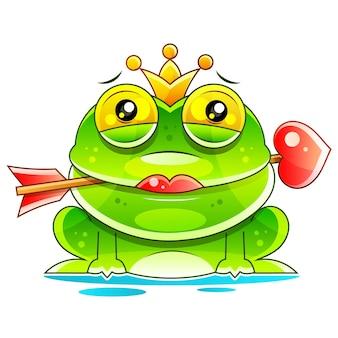 Симпатичная принцесса лягушка мультяшный талисман с короной и стрелкой. векторные иллюстрации, изолированные на белом фоне
