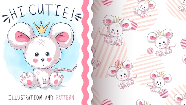 Cute princess mouse  seamless pattern