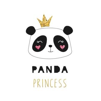 Cute princess panda, golden glitter crown.