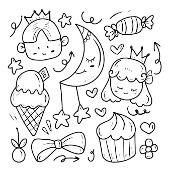 Cute princess and prince drawing doodle collection set