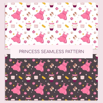 드레스, 왕관, 컵케이크, 액세서리가 있는 귀여운 공주 프린트. 분홍색으로 갓 태어난 여자 아기를 위한 휴일 장식입니다. 엽서, 직물, 포장지 및 디자인에 적합합니다. 벡터 일러스트 레이 션