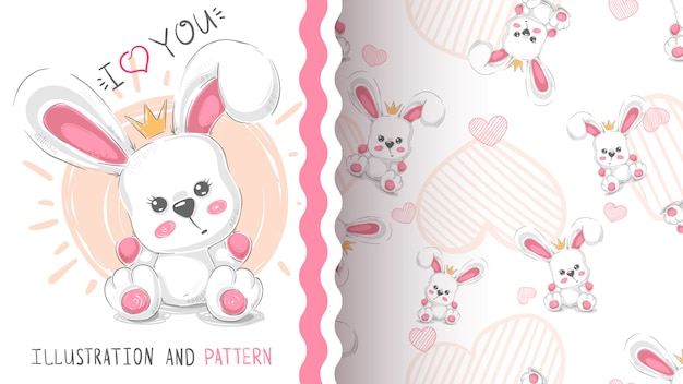 Cute princess rabbit pattern