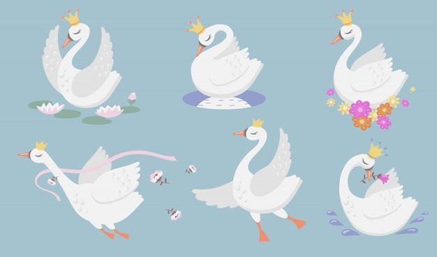 Cute princess swan flat icon set