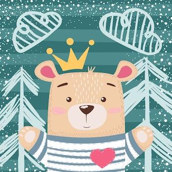 Cute princess teddy bear illustration