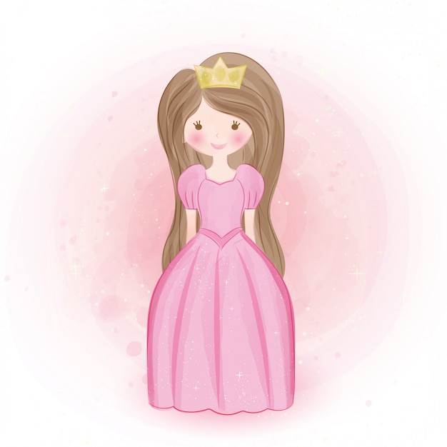 Cute princess in water color style.