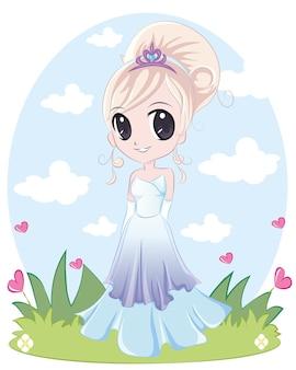 긴 머리를 한 귀여운 공주님. 보라색 파란색 드레스를 입고 금발 만두와 소녀입니다.