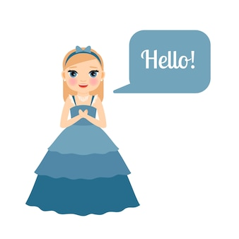 Cute princess with speech bubble