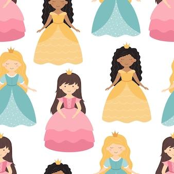 파란색 분홍색 노란색 드레스에 귀여운 공주 원활한 패턴