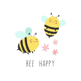 Cute print of happy bees with flowers.