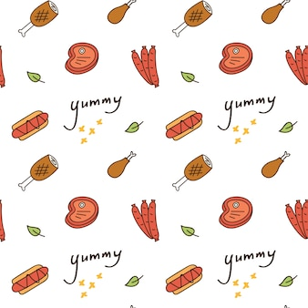 Cute print and pattern with various food