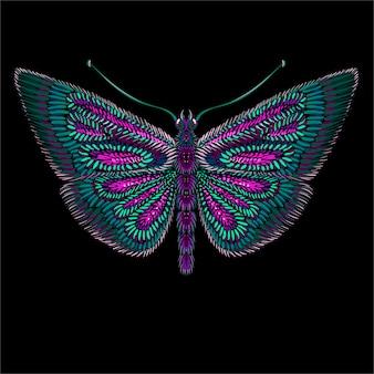 かわいいプリントスタイルの蝶の背景。