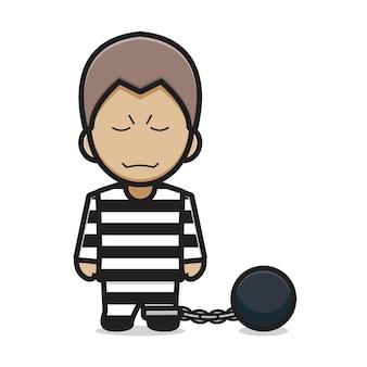 Cute prisoner character cartoon vector icon illustration. villain icon concept isolated vector. flat cartoon style