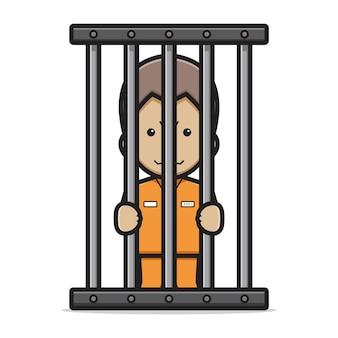 감옥 만화 벡터 아이콘 그림에서 귀여운 죄수 문자. 악당 아이콘 개념 고립 된 벡터입니다. 플랫 만화 스타일