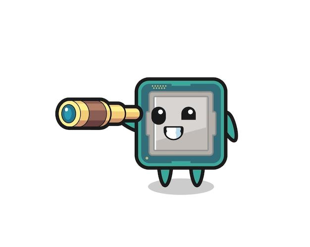 かわいいプロセッサーのキャラクターは、古い望遠鏡、tシャツ、ステッカー、ロゴ要素のかわいいスタイルのデザインを保持しています