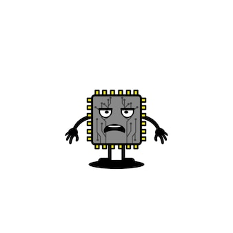 Cute processor vector illustration technology chip connection