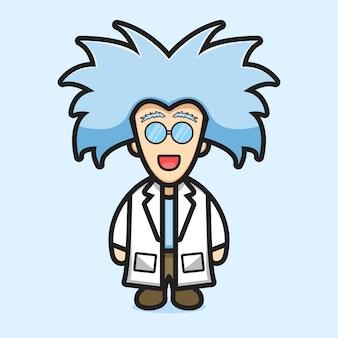 Милый профессор ученый носить очки мультфильм вектор значок иллюстрации. концепция значок профессии изолированные вектор. плоский мультяшный стиль