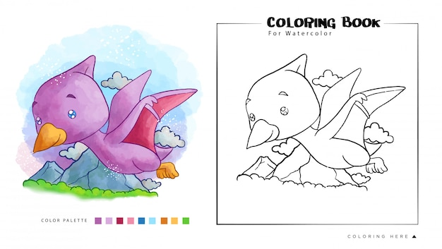 Cute pterodactyl flying on the sky. cartoon illustration for watercolor coloring book