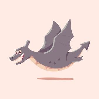 Cute pterodactyl vector cartoon dinosaur illustration isolated on background.