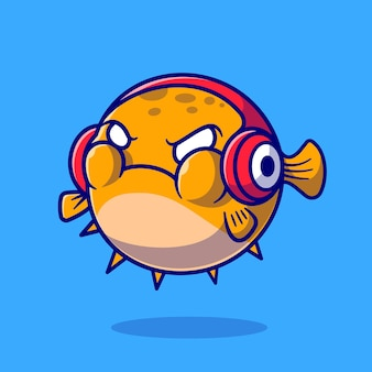 Simpatico pesce palla arrabbiato e indossando la cuffia icona del fumetto vettoriale. concetto di icona di tecnologia animale isolato vettore premium. stile cartone animato piatto