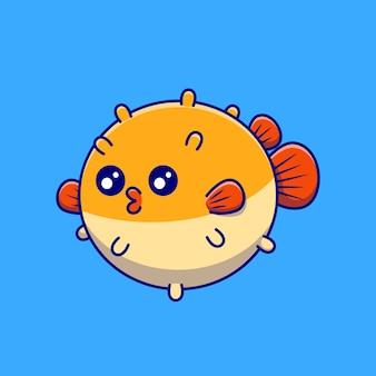 Cute puffer fish cartoon   illustration. animal nature  concept isolated . flat cartoon