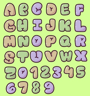 Cute puffy alphabet and numbers typhography design