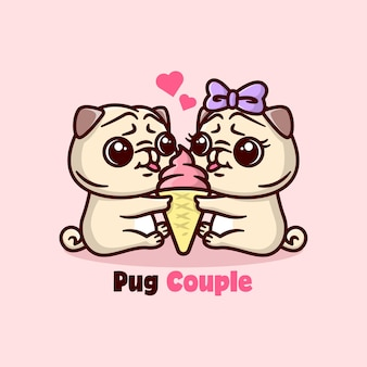 아이스크림을 공유하고 사랑스러워하는 귀여운 퍼그 커플. 발렌타인 데이