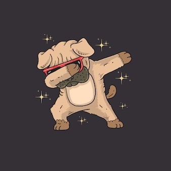 Cute pug dabbing illustration