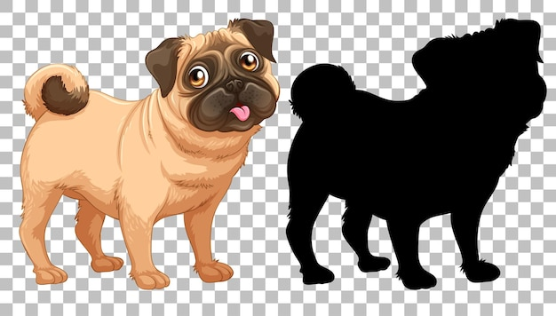 Милая собака мопса и ее силуэт
