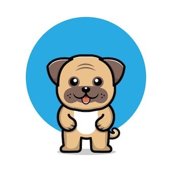 Cute pug dog cartoon character illustration