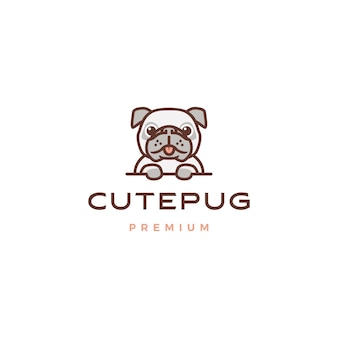 Cute pug dog cartoon character mascot logo icon illustration