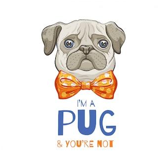 Симпатичный мопс эскиз doodle для печати футболки, плаката, дизайн корзины.