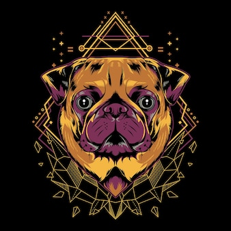 Cute pug dog  geometry illustration style in black background