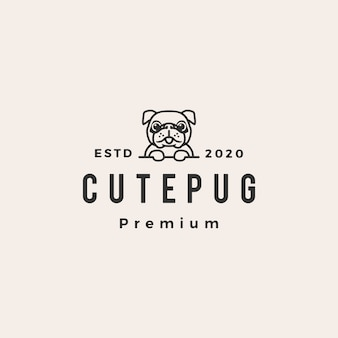 Cute pug dog hipster vintage logo icon illustration