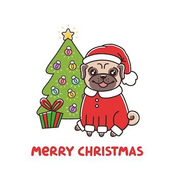 Милый мопс в костюме санта-клауса и елка с гирляндой и подарком