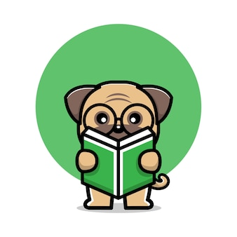 Cute pug dog reading book cartoon character illustration