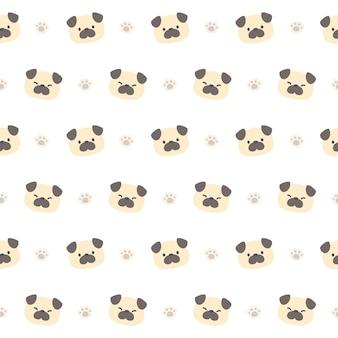 귀여운 퍼그 개 완벽 한 패턴