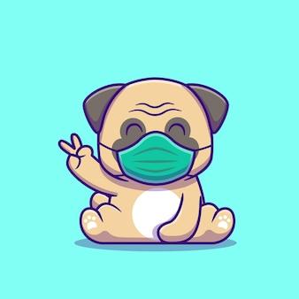 かわいいパグ犬座ってマスク漫画アイコンイラストを身に着けています。分離された動物の健康なアイコンの概念。フラット漫画スタイル