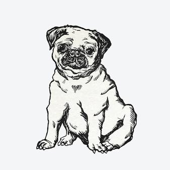 귀여운 퍼그 강아지 스티커 빈티지 일러스트