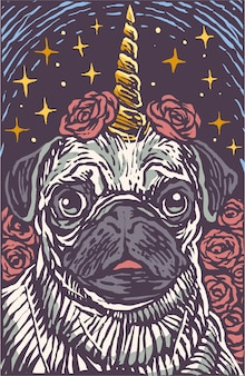 Cute pug dog unicorn engrave cartoon style illustration