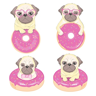 Cute pug dog vector flat character with red tongue and happy face