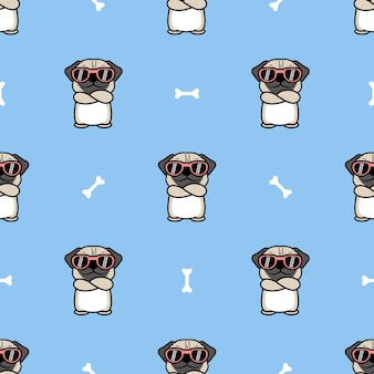 Cute pug dog with sunglasses crossing arms cartoon seamless pattern