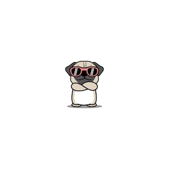 Cute pug dog with sunglasses crossing arms cartoonillustration